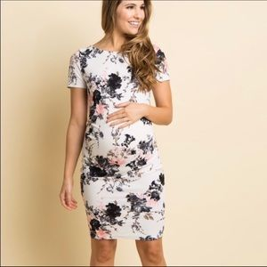 Pinkblush floral fitted maternity dress
